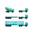 truck sets trailer with container long vehicle vector image