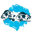 two fishes in the water vector image vector image