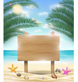 wood board with sea sand beach background vector image vector image