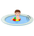 cute little kids swimming with inflatable circle vector image