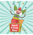 april fools day a jester in box toy background vec vector image