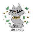 funny cat under money rain vector image