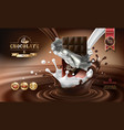 3d splashes of melted chocolate and milk vector image vector image