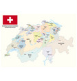 administrative and political map of switzerland vector image vector image