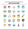 art and culture flat line icon set - business vector image