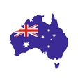 australia map with image national flag vector image vector image