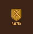 bakery logo baguette emblem vector image vector image