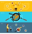 bbq grill banner set vector image vector image