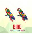 bird animal pet pop art low poly line logo icon vector image