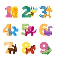 Birthday anniversary cartoon numbers with cute vector image