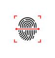 black and red fingerprint thin line scanner vector image