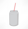 Can with straw vector image vector image