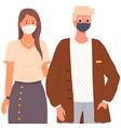 cartoon characters are wearing medical masks vector image vector image