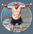 cartoon funny big man shows gesture thumbs down vector image vector image