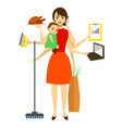 cartoon super mom concept character vector image vector image