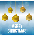christmas card with golden balls vector image vector image