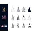 christmas trees set hand drawn ink style vector image vector image