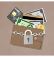 Closed wallet and locked pad lock vector image vector image