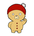 comic cartoon waving teddy bear in winter hat vector image vector image