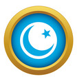 crescent and star icon blue isolated vector image vector image