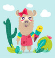 cute llama girl cartoon character vector image