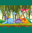 different dinosaur in forest vector image vector image