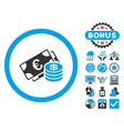 Euro and Dollar Cash Flat Icon with Bonus vector image vector image
