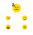 flat icon emoji set of sad smile asleep and vector image vector image