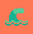 flat icon on stylish background nature tsunami vector image