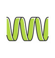 green sound wave color icon wavy ribbon line vector image vector image