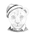 hand drawn portrait lion bawith accessories vector image