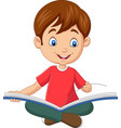 happy boy sitting with opened a book vector image vector image