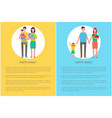 happy family poster parents daughter son vector image vector image