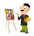 happy male painter artist with mustache vector image vector image