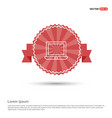 laptop icon flat design - red ribbon banner vector image
