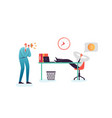 lazy businessman sleeping at work office vector image