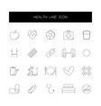 line icons set health pack vector image vector image