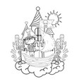 little pirate in boat with castle vector image