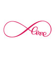 love word in the sign of infinity sign on vector image vector image