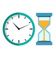mechanical clock and hour glass isolated vector image vector image