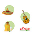 mexican culture cartoons collection vector image