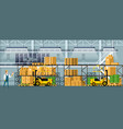 modern warehouse indoor space with goods on shelf vector image vector image