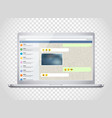 notebook with messenger application on the screen vector image vector image