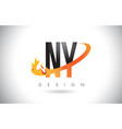 ny n y letter logo with fire flames design and vector image vector image