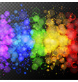 rainbow rings of light on black background vector image vector image