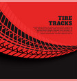 red background with tire track prints vector image vector image