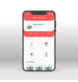 red user account ui ux gui screen for mobile apps vector image vector image