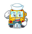 sailor school bus character cartoon vector image vector image