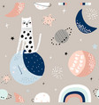 seamless childish pattern with cat on moon and vector image