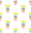seamless pattern with flowers in pot on white vector image